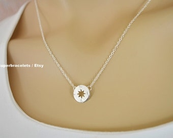compass necklace, silver compass necklace, gold compass necklace, compass necklaces, circle necklace, geometric necklace, karma necklace