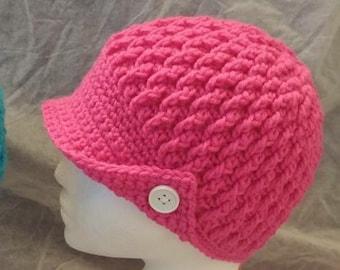 Women's crochet hat pattern, women's newsboys hat pattern, women's brim hat pattern, crochet pattern