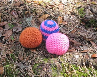 Crocheted CatNip Toy Ball made with Organic CatNip - Set of 3 - Ready to Ship Handmade