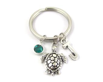 Turtle Keychain- choose a birthstone and initial, Turtle Key Ring, Turtle Gift, Turtle Charm Keychain, Personalized Turtle, Initial Keychain