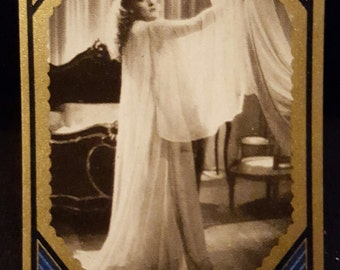 Original 1930's Marlene Dietrich Cigarette Card, Movie Star, Old Hollywood, Movie Poster, Zuban