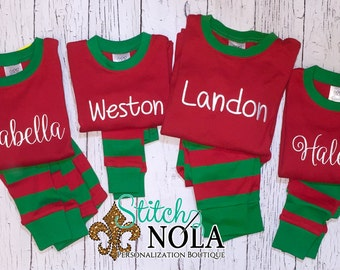 Red/Green Children's Christmas Pajamas, Xmas PJs, Christmas Pjs
