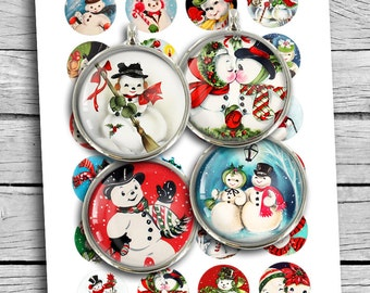 Printable Retro Snowman 1 inch 25mm 1.5 inch Round images for Scrapbooking Planner Stickers Magnets Digital Collage Sheet