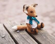 teddy fox ooak, Fox bear Teddy, plush animal, plush fox, cute toy, birthday gift,  animal wool