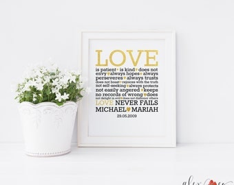 Personalized Wedding Printable. 1 Corinthians 13 Printable. Love is Patient Sign. Wedding Present. Love Is Patient Love Is Kind. Wedding.