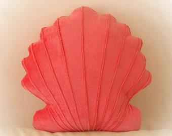 Scallop Shell Shaped Pillow, Seashell Pillow,  Toy Pillow, 3D Pillow, Nautical Decor, Beach House Decor