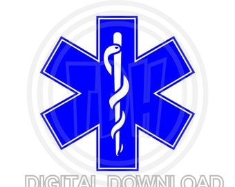 Paramedic Star of Life Digital Download  SVG DXF EPS Silhouette Studio Cricut Design Space