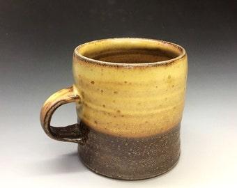 Salt Fired High-Iron Stoneware Mug - Yellow Glaze, 0425001