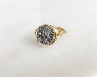 Silver Ring, Druzy Ring, Sparkle Ring, Silver Druzy Wire Wrapped Ring