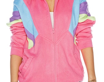 Awesome 80's styling zip-up pink, blue, purple and neon green sweat shirt