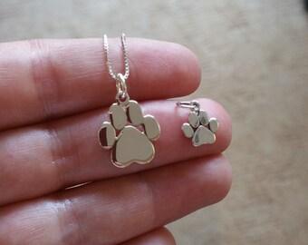 Paw print necklace, Pet necklace