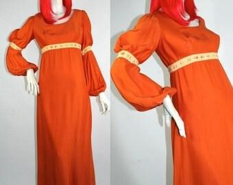 Vtg 1960s 70s orange maxi dress // medieval / Bohemian // Hippie // Peasant Gypsy // Hammer Horror