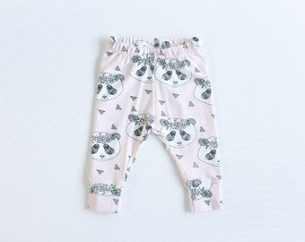 Organic baby leggings. Comfy toddler pants. Pink organic knit fabric with panda bears. Infant cuff leggings. Pandas.