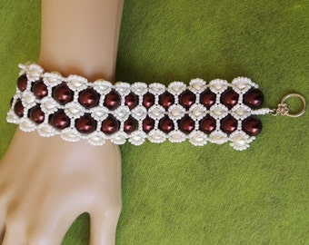 Hand made royal bracelet brown white swarovski pearls wedding