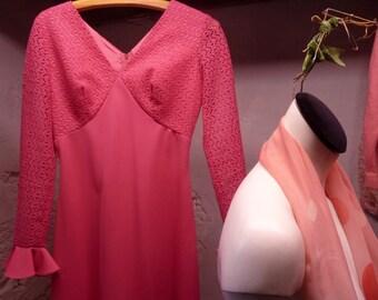 fushia pink long dress 1970