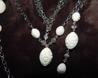 Vintage Sarah Coventry Necklace  Silver White Bead Double Strand Necklace Signed Sarah Coventry Summer Flirt