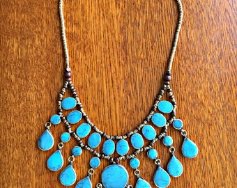 Turquoise Waterfall Necklace ~ Vintage Turquoise Bib Necklace ~ Bohemian Jewelry ~ Tribal Jewelry