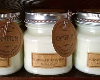 3, 8oz Rosemary & Lemon Verbena Aromagherapy Candles