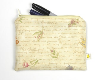Botanical zipper pouch, flowers pencil case or cosmetic pouch