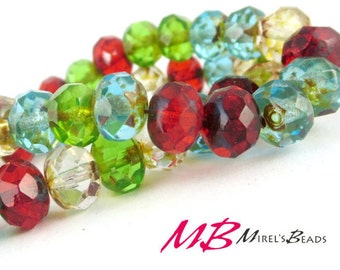 15 pcs Mixed Color Beads, 8x6mm Faceted Picasso Rondelle, Multi Color Puffy Donut Beads