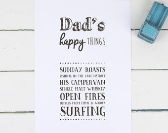 """Personalised Print for Dad - Personalised Dad Print - Dad Birthday Gift - Fathers Day Gift - Personalised Gift - """"Dad's Happy Things"""""""