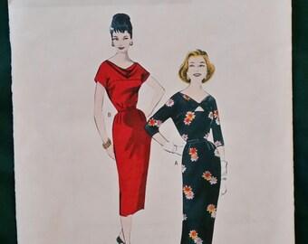 Vintage pattern Butterick B5707 womens dress 1958 size 6 to 14