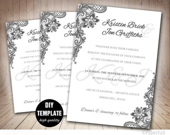 Silver Wedding Invitation,Grey Wedding Invitation Template,Elegant Wedding Invitation, Lace Wedding Invitation DIY