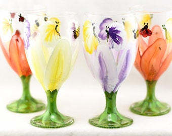 Drinking Glasses - 16 oz - Each, Set of 2 or 4 - Lily Design - Hand Painted