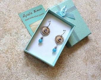 Amethyst earrings , Colors combination earrings , Earrings with gems , Blue jade beads , Sterling silver