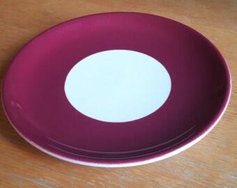 Burgundy Shenango China Anchor Hocking Dinner Plate