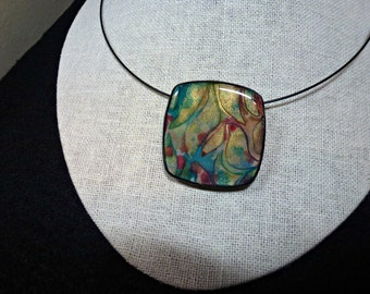 """Polymer Clay Pendant, Necklace, Handcrafted, OOAK, """"Autumn Abstract"""""""