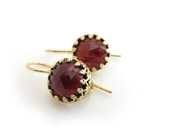 Garnet Earrings, Gold Garnet Earrings, January Birthstone, Garnet Gemstone, January Stone, Burgundy Garnet, Bridal Earrings, Gift for her