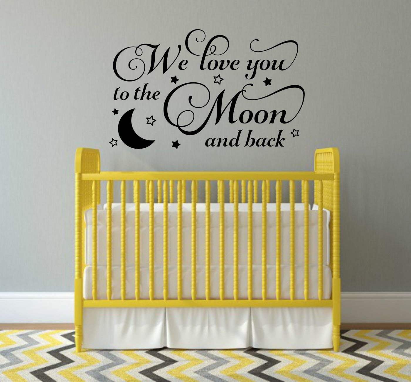 We Love You To The Moon And Back Decal Nursery Wall Decal Moon
