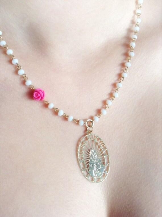Virgin mary crystal necklace catholic