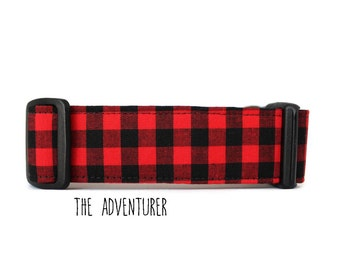 Boy Dog Collar, Red Plaid Dog Collar, Red Buffalo Plaid Dog Collar, Lumberjack Dog Collar, Plaid (Upgrade to Metal Buckle or Martingale)