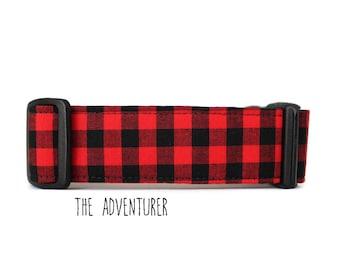 Fall Dog Collar, Boy Dog Collar, Red Plaid Dog Collar, Buffalo Plaid Dog Collar, Lumberjack Collar (Upgrade to Metal Buckle or Martingale)