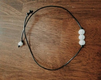 Knotted Black Leather Pearl Necklace/Choker
