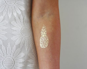 Gold pineapple temporary tattoo / gold temporary tattoo / pineapple tattoo / boho gift / mandala tattoo / festival jewelry / festival tattoo