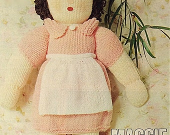 Vintage Knitted Doll Pattern. PDF.