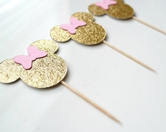 Minnie Mouse Cupcake Toppers - Minnie Mouse Party Decor - Gold Minnie Head and Pink Bow.
