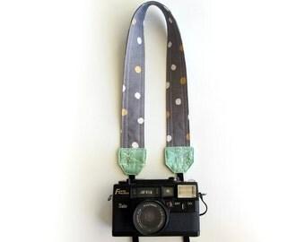Camera strap, SLR camera strap, DSLR camera strap, stylish camera strap, grey gold white mint