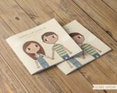 Love Story Wedding Invitation |  Custom Illustrated Couple Portrait