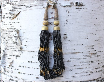 36 Strand Tribal Beaded Choker Necklace in Black and Gold