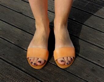 Sandals Handmade Greek Leather Natural Color Women's
