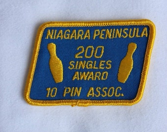Niagara Peninsula 10 Pin Association Vintage 1980s Bowling Award Patch