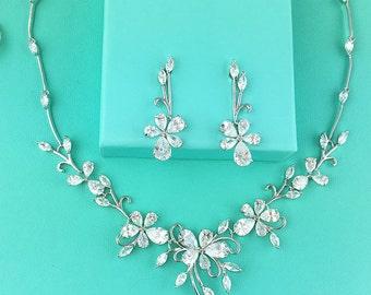Bridal Jewelry Set, CZ Wedding Necklace Set, bridal jewelry, wedding jewelry, zircon jewelry, cz jewelry set, jewelry set, 286527565