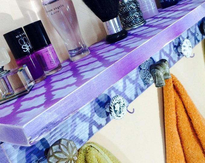 Towel holder shelf /bathroom storage /bath towel hanger /decorative reclaimed wood decor hanging organizer 6 lavender hooks Elephant 5 knobs