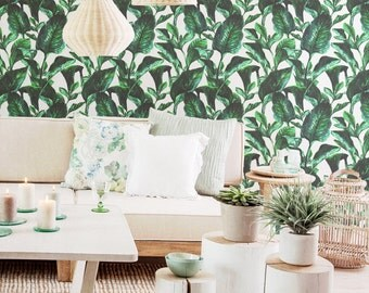 Vibrant Botanical Wall Mural / Tropical Removable Wallpaper or Traditional Wallpaper - L702