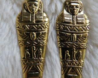 Vintage 80s gold coloured Egyptian pendants - large at 65 mm
