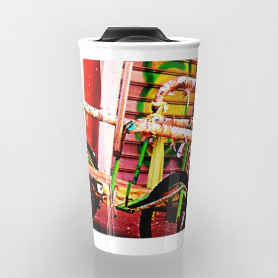Red Travel Coffee Mug Ceramic Travel Mug Coffee Cup Urban